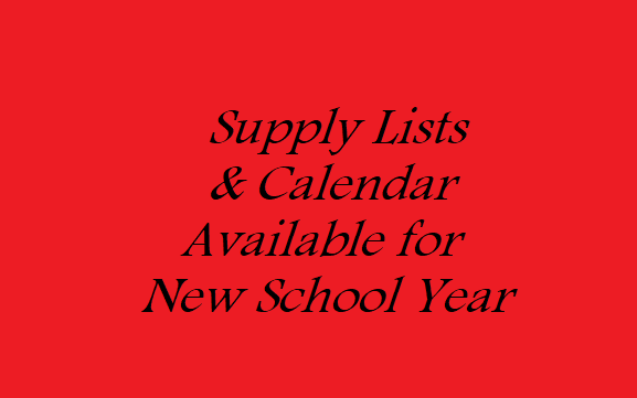 2018-19 Supply List and School Calendar Available