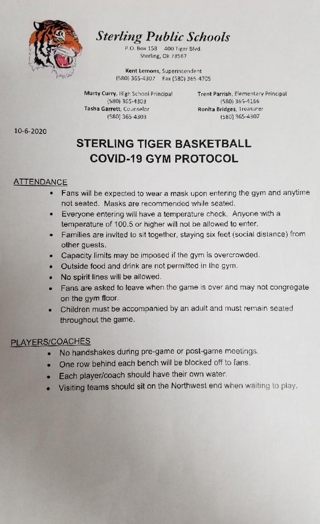 Sterling Basketball Gym Protocol